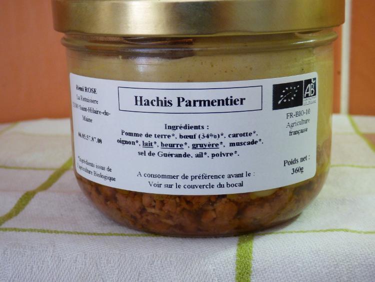 recette traditionnelle de hachis parmentier bocal stérilisé pour 1.5 parts