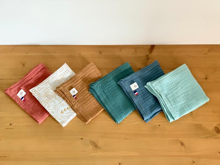Lot de 6 mouchoirs en double gaze de coton