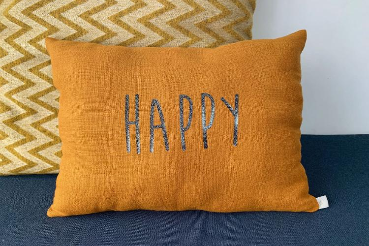 Coussin lin HAPPY