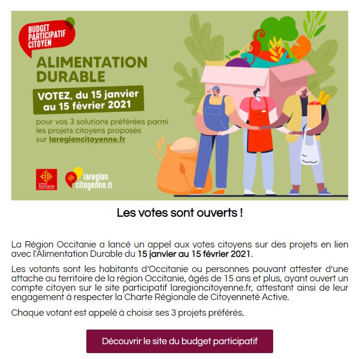 Retrouvez la Newsletter spéciale Budget Participatif de la Région Occitanie !