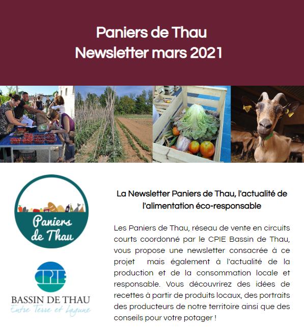 Retrouvez la newsletter de mars 2021 des Paniers de Thau !