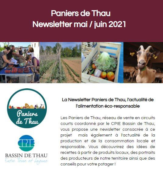 Retrouvez la newsletter mai/juin des Paniers de Thau !