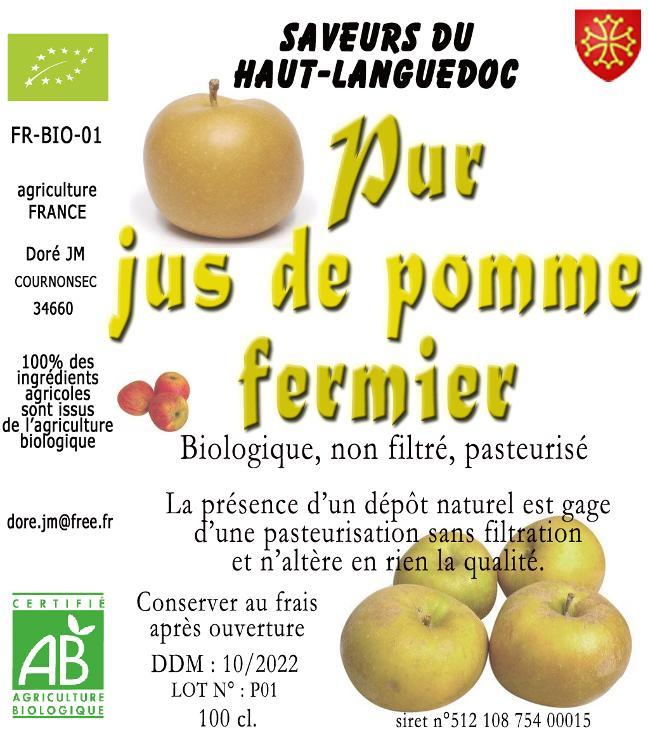 PUR JUS DE POMMES FERMIER AB 1L