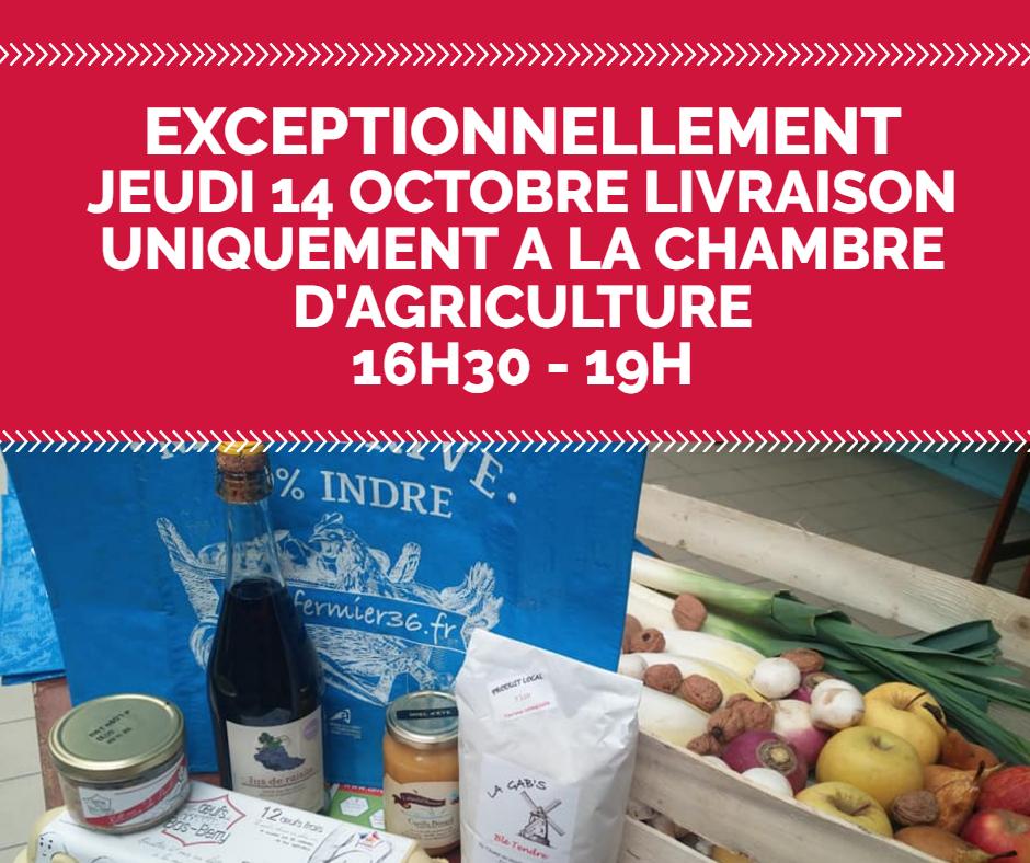 JEUDI 14 OCTOBRE - LIVRAISON UNIQUEMENT A LA CHAMBRE D'AGRICULTURE