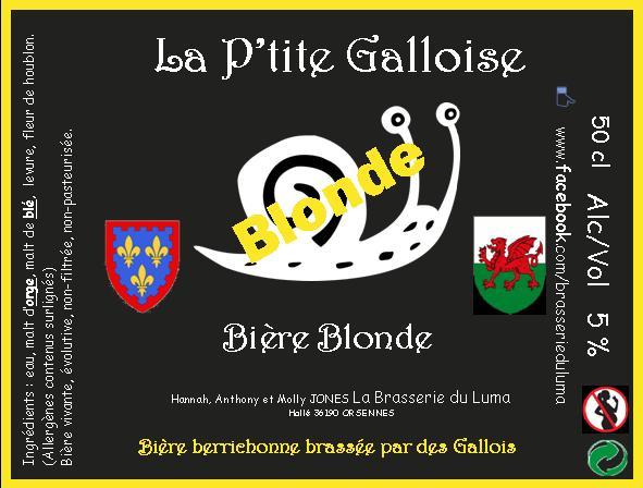 """""""La P'tite Galloise"""" Bière Blonde 50cl X 3 Brasserie du Luma"""