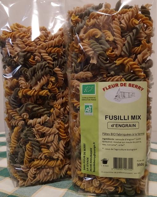 Pâtes Fusilli mix (engrain, curcuma, ortie)  - SARL FLEUR DE BERRY