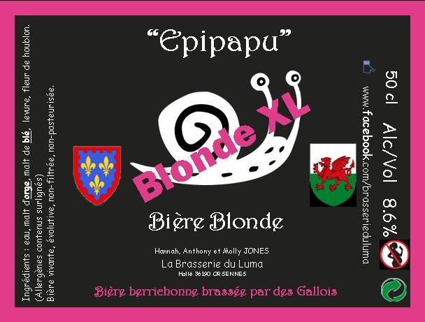 """""""Epipapu"""" Bière Blonde XL 50cl X 3 Brasserie du Luma"""
