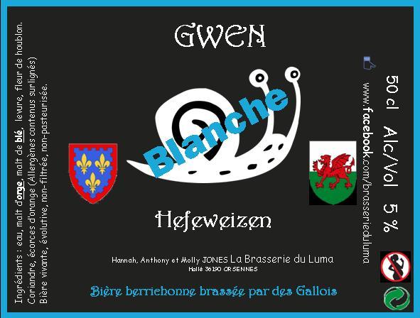 """Gwen"" Bière Blanche 50cl X 3 Brasserie du Luma"