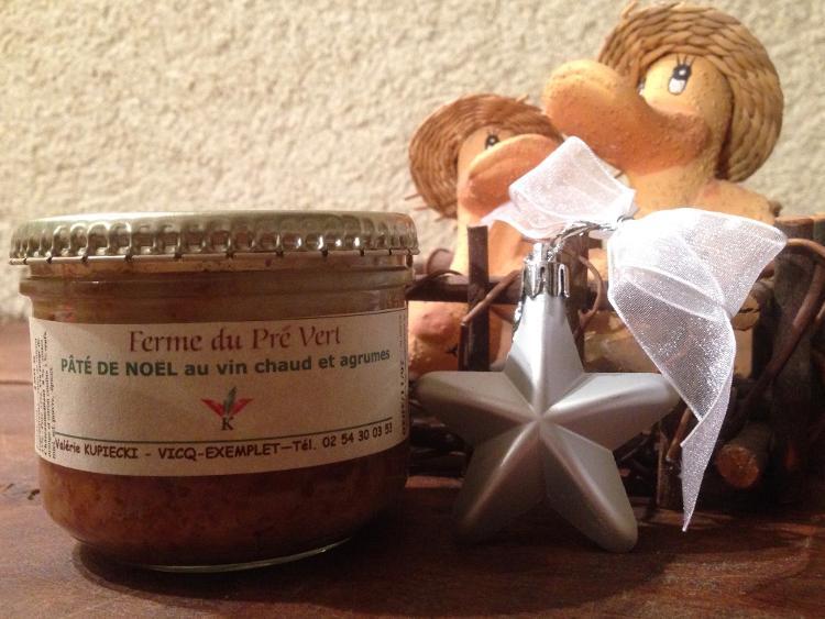 Pâté de Noël - canard au vin chaud et aux agrumes - bocal 180 gr. FERME DU PRÉ VERT