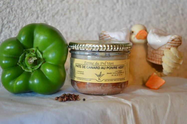 Pâté de canard au poivre vert Bocal 180 gr. FERME DU PRÉ VERT