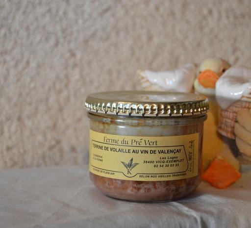 Terrine de volaille au vin de Valençay Bocal 180 gr. FERME DU PRÉ VERT