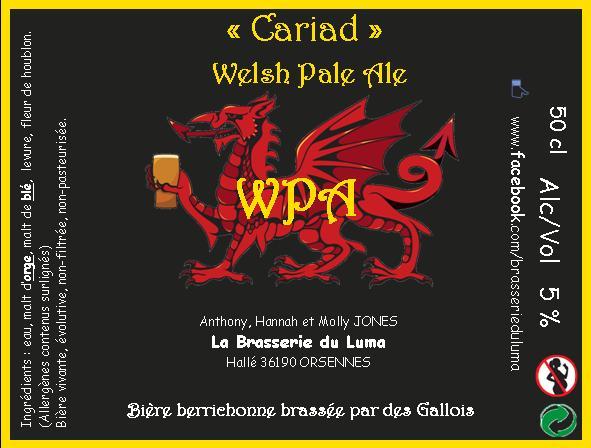 """""""Cariad"""" Welsh Pale Ale  50cl X 3 Brasserie du Luma"""