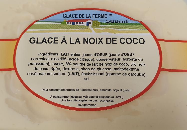 Crème glacée coco 500ml