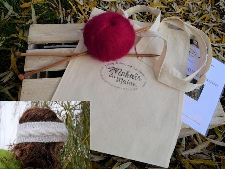 Kit tricot mohair bandeau Cocoon avec aiguilles