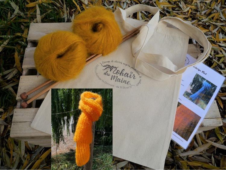 """Kit tricot mohair """"écharpe miel"""" Zen avec aiguilles"""
