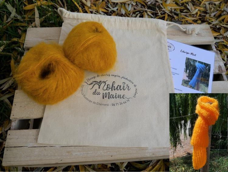 """Kit tricot mohair """"écharpe miel"""" Zen sans aiguille"""