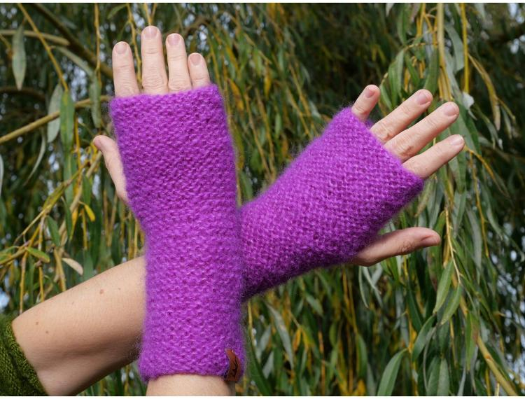 Manchons tricotés main couleur Jasmin