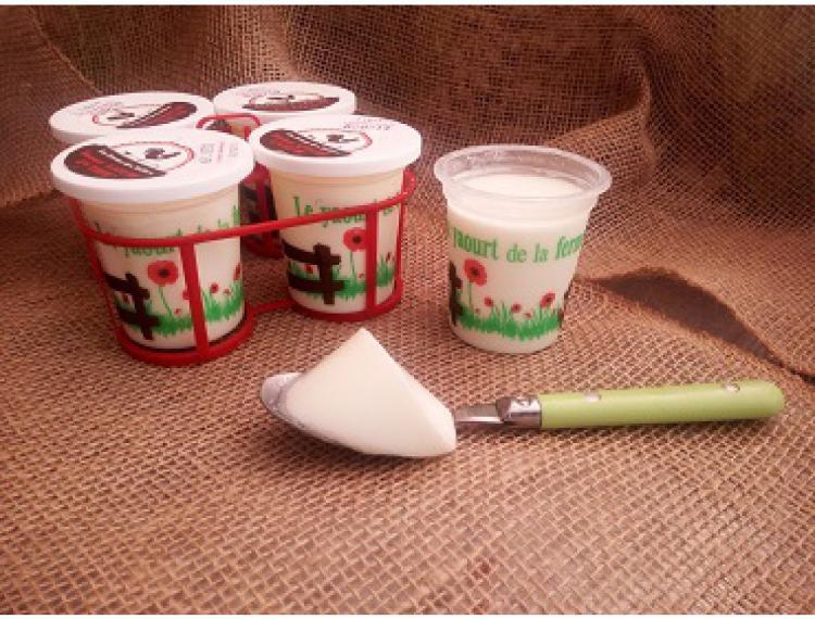 Panier de 4 yaourts au lait de vache SUCRE - La Ferme des Vallées
