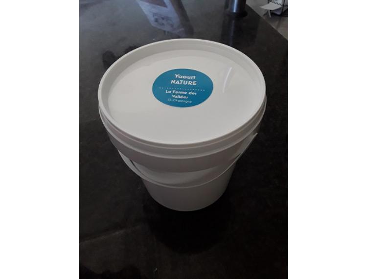 Seau yaourt au lait de vache NATURE - 1 kg - La Ferme des Vallées
