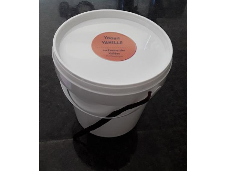 Seau de yaourt au lait de vache VANILLE - 1 kg - La Ferme des Vallées