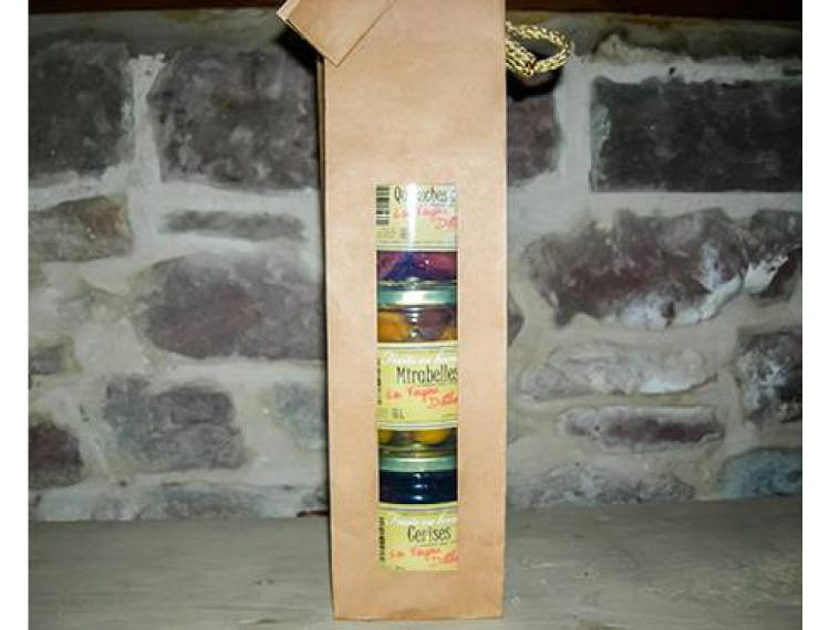 Coffret de 3 bocaux de 425 ml de Cerises-Mirabelles-Quetsches