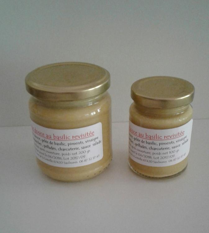 Moutarde douce au basilic 200 gr