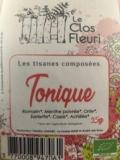 Tisane Tonique Bio (achillée, romarin, menthe poivré, sariette cassis, ortie)