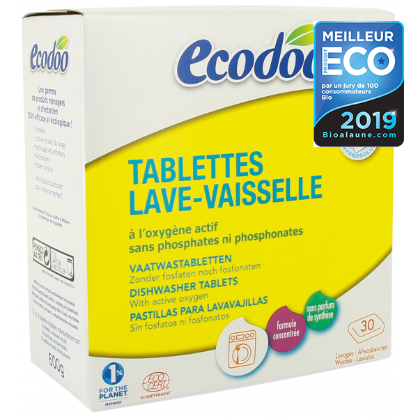 LAVE-VAISSELLE - ECODOO -   Tablettes classiques - 30  doses - 600 gr