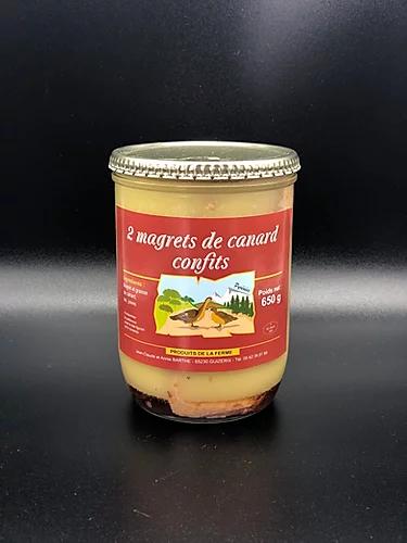 Magrets de canard confits (2 magrets pour 4 parts) 650g