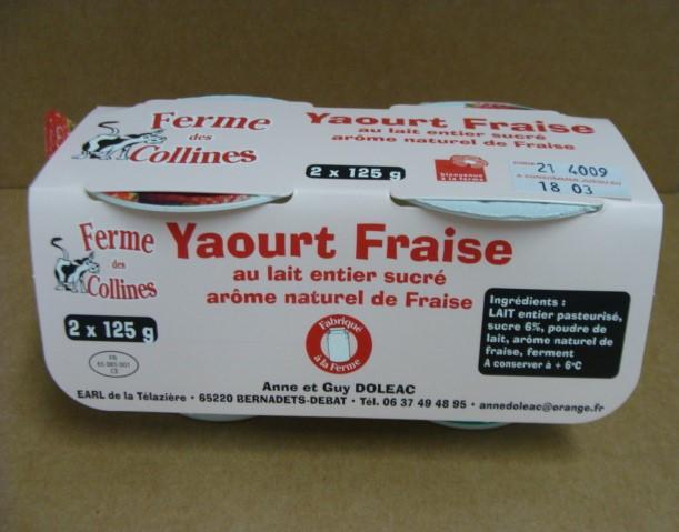 Yaourt arôme naturel de fraise 2 pots de 125g